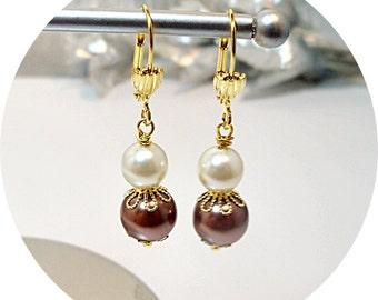 Brown, Mocha, Earrings, Bridesmaid,  Cocoa, Latte, Pearl Earrings, Bridesmaid Gift, Bridal Accessories, Prom, Gold Earrings, Dangle Earrings