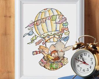 Children Art. Sailing for Adventure. PRINT 8X10. Nursery Art Home Decor