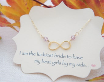 Personalized gold vermeil over sterling silver infinity necklace with birthstone, bridesmaids, wedding, tiny infinity, layered necklace