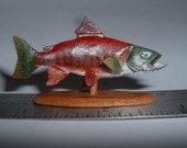 Miniature 1/12 scale Trophy Sockeye Salmon Fish Woodcarving