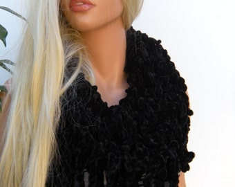 Velvet Midnight  All Black Hand knitted   fringe scarf  Infinity scarf  Loop scarf Luxurious Fransen Scarf