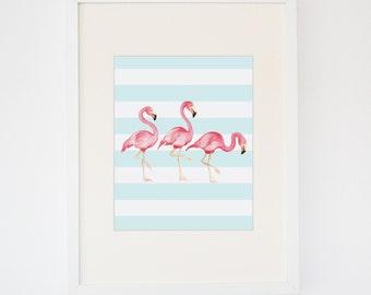 Cabana Stripes Flamingo Print
