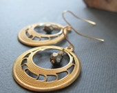 Gold Hoop Earrings, Pyrite Brass Dangle Earrings, Vintage Modern Gold Jewelry - NOUVEAU