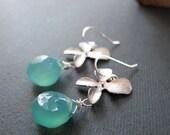 Orchid Jewelry, Teal Chalcedony Teardrop Earrings, Gemstone Bridal Earrings in Silver - ORCHID