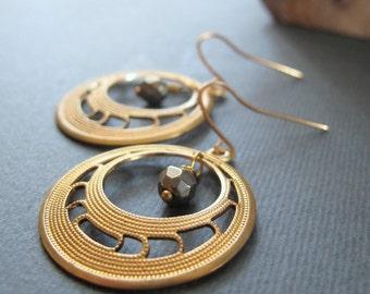 Gold Hoop Earrings, Pyrite Brass Dangle Earrings, Vintage Modern Gold Jewelry - NOUVEAU