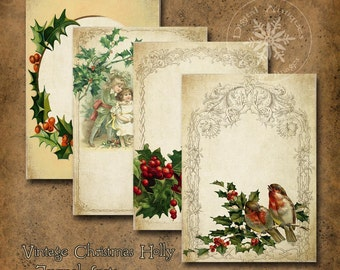 Vintage Christmas Holly Journal Pages Spots Digital Download