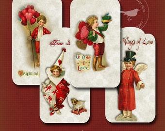 Vintage Valentine Tags Printable Digital Download