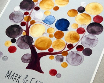 Golden birthday gift Guest Book Tree museum quality art print - unique baby birthday wedding gift - SMALL PARTY TREE
