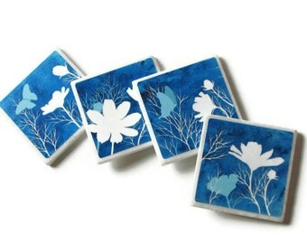 Blue Home Decor Decorative Tile Coasters, Spring Flower Table Decoration, Butterfly, Wildflowers, Floral Set of 4