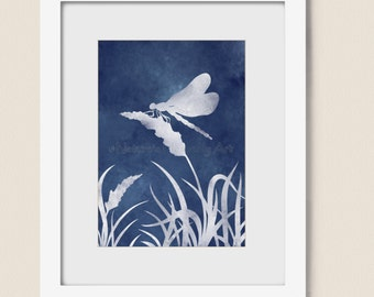 Dragonfly Artwork 5 x 7 Wall Art Print, Blue Wall Decor, (78)