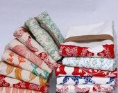 Flour Sack Towel, Hand Printed, Natural Cotton, Choose Your Set of 3