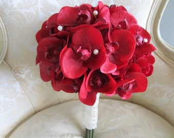 Red true touch orchid wedding bouquet with pearls, real touch orchid  bridal bouquet