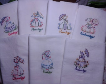 Set of 7 Machine Embroidered Southern Belle  DOTW white cotton kitchen tea towels