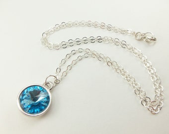 Aquamarine Necklace March Birthstone Necklace Sterling Silver Aqua Blue Crystal