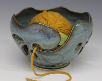 Yarn Bowl / Knitting Bowl  -  Rutile Blue Glaze