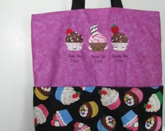 See No Diet Hear No Diet Speak No Diet Cupcakes Eco Friendly Tote, Purse, Bag