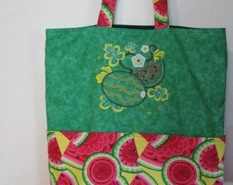 Vintage Style Watermelon Summer Tote, Eco Friendly, Purse, Bag Embroidered