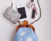 Felted wool bags and purses, vintage,Mori girl,dandelion, sky blue&white,