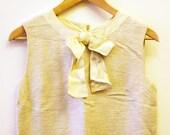 Beige 60s Linen Shift Dress
