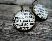 Shakespeare Jewelry,  Book Earrings, Geek Jewellery, Bronze Round Earrings - Bookity