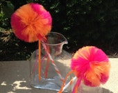 Orange and Pink Wands- Orange and Pink Party Favors- TANGERINE RASPBERRY- Tutu wands- Fairy Wands- Tulle Wands-  Tulle Pom decoration