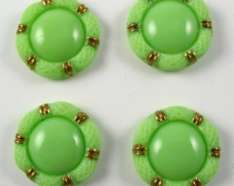 Vintage Glass Buttons - Green with Gold Metallic - 4 buttons
