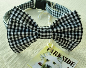 Black and White  Mini Check Break Away Bowtie Collar for Cats