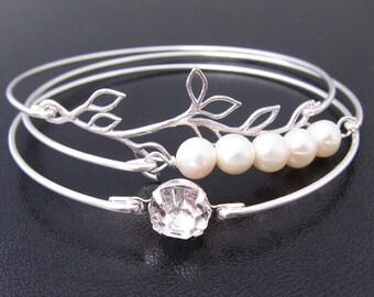Pearl Wedding Bracelet Set, Pearl Wedding Jewelry, Pearl Bridal Jewelry, Pearl Bridal Bracelet, Rhinestone and Pearl Bracelet