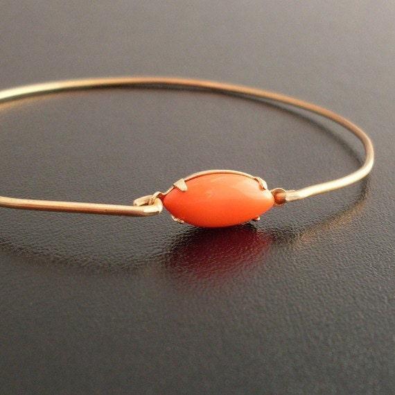 Oval Bangle Bracelet, Miranda - Coral and Gold Bracelet, Coral and Gold Jewelry, Oval Bracelet, Oval Jewelry, Coral Bangle, Coral Bracelet