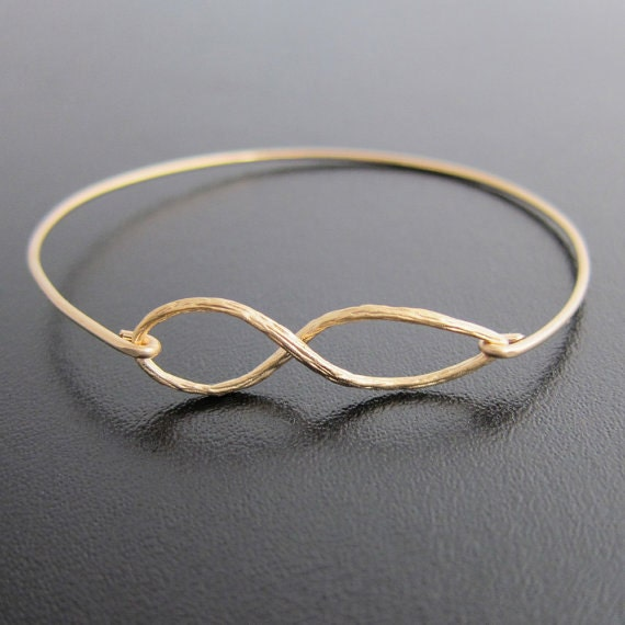 Infinity Bracelet, Gold Infinity Jewelry, Eternity Bracelet, Forever Bracelet, Infinity Bangle Bracelet, Frosted Willow