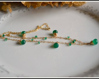 Green onyx and gold wire wrapped necklace, green onyx jewelry