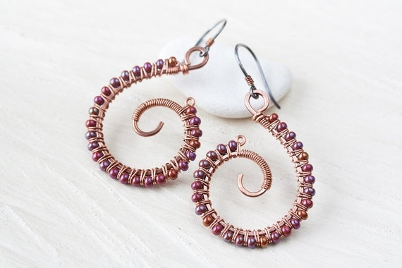 Beaded Spiral Earrings, wire wrapped spiral copper earrings with multicolor purple glass seed beads, copper jewelry, silver earwire