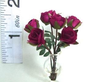 Dolls House RED ROSES in glass VASE  handmade miniature flower 12th scale