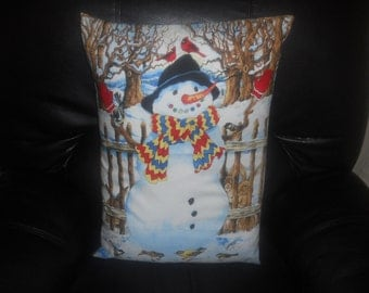 SALE - Snowman with Birds  -  One Throw Pillow COVER ONLY