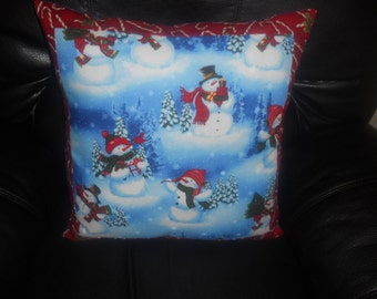 SALE - Snowmen in Daylight -  Throw Pillow COVER ONLY