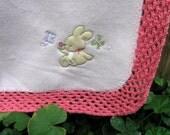 Bunny Baby Blanket, Afghan, Fleece, Crochet Trim, Handmade, Throw, Baby Girl, Shabby Chic - NormasTreasures