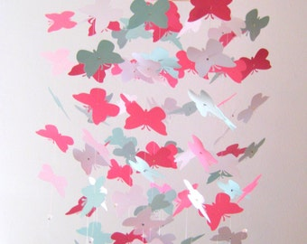 Pink Green and White Butterfly Nursery Mobile Girl Nursery Decor