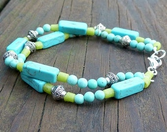 Turquoise and Lime Bracelet - Turquoise Beads, Lime Green Recycled Glass Beads, Multi Strand Bracelet, Summer Bracelet