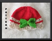 Baby Hat Pattern Knitted Hat Pattern Christmas Baby Hat Newborn Hat Pattern Infant Hat Pattern Newborn Knitted Hat: WRAPPED FOR CHRISTMAS