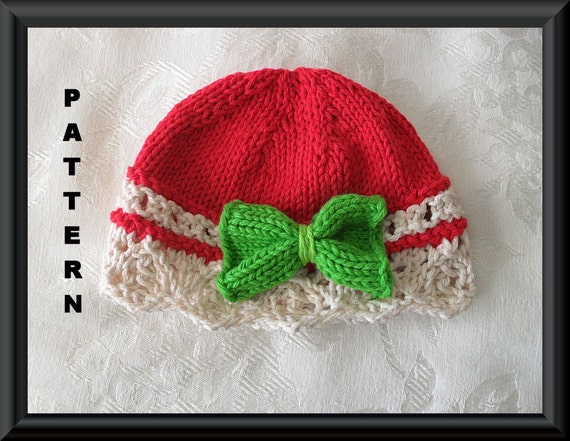 Free Knit Patterns For Headbands : Knitting Pattern for Christmas Baby Hat with by CottonPickings