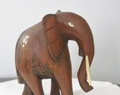 Vintage Carved solid Wood Elephant, Elephant with Bone Accents and Tusk, Large Heavy Wooden Animal Figurine Statue
