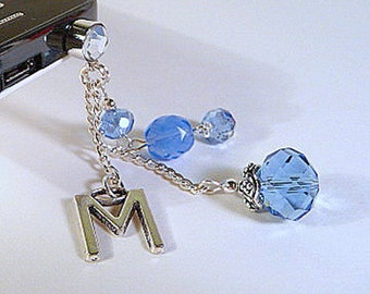 Cell phone dust plug, initial charm, personalized cell charm, custom, blue, crystal, bling, cell phone dangle, iphone, android