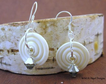 White Lampwork Swirl Disk with Crystal Drop Earrings