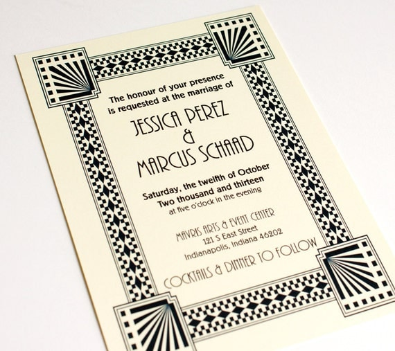 Art Deco Invitation Wedding A6 Great Gatsby Retro Historical Custom Flat Bold Graphic twenties forties thirties Save the Date Available