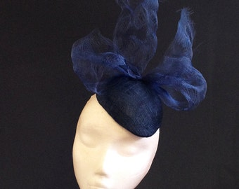 Navy Distressed Crin Percher - Striking hat perfect for a wedding or the races, can be made in other colours