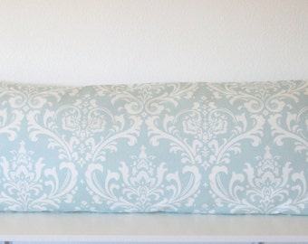 Body Pillow Cover - Damask - Blue -White - 20x54 - Accent - Body PillowCase