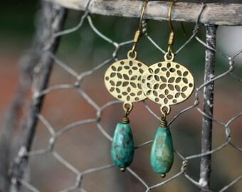 Turquoise Teardrop Earrings, Gemstone Jewelry, Turquoise Jewelry