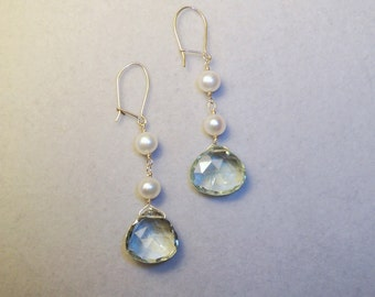 Sophisticated Sparkle. Glinting Green Amethyst and Fresh Water Pearls wrapped in Gold wire.