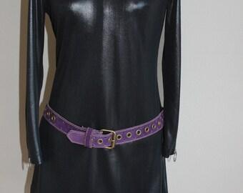Mod Sixties Purple Suede Multi Grommet Brass Buckle Belt