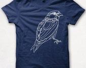 Womens Tshirt, Screenprinted, Bird Shirt, Sparrow, Graphic Tee - Navy